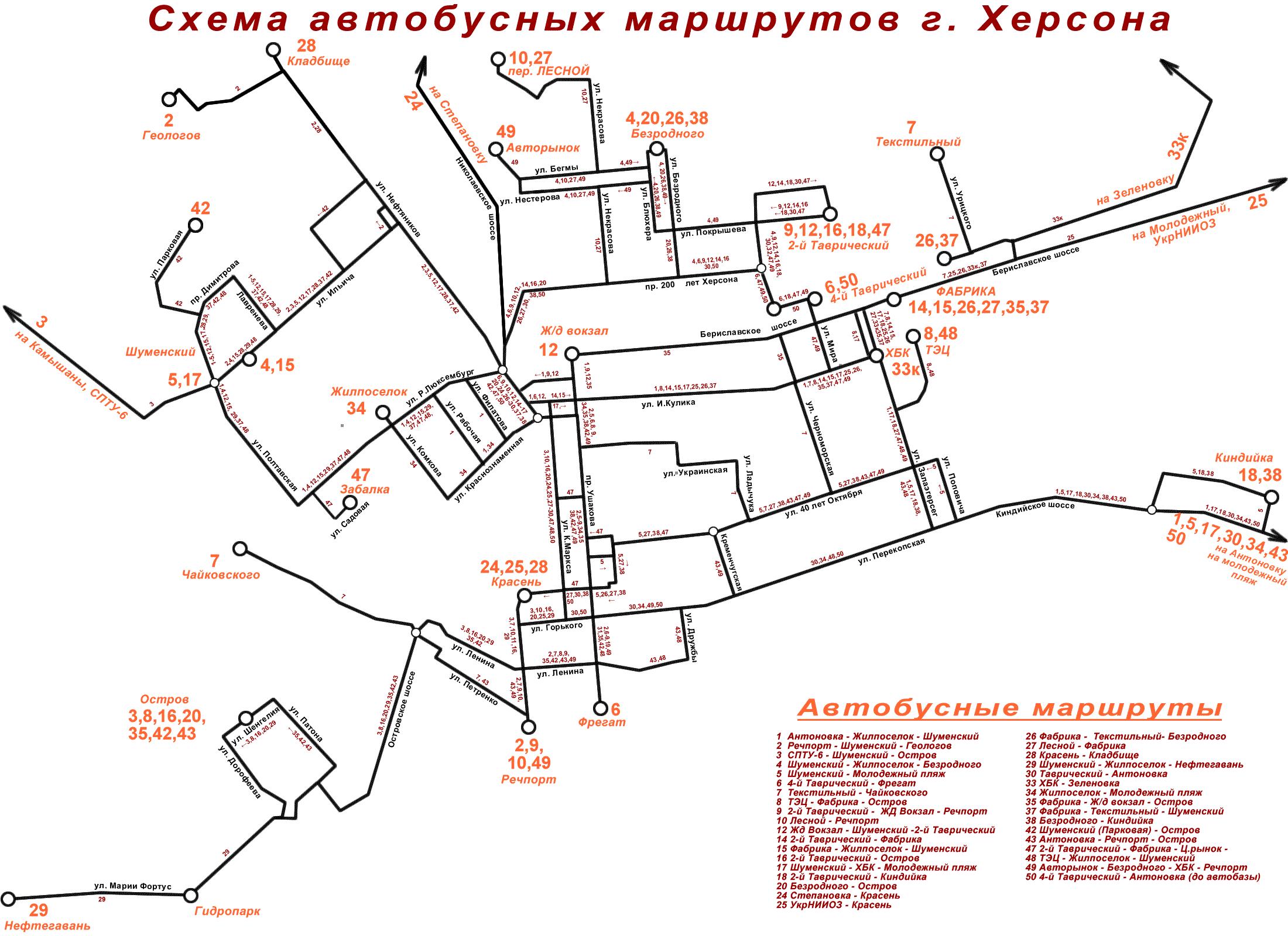 Схема автобусных маршрутов г. Херсона.